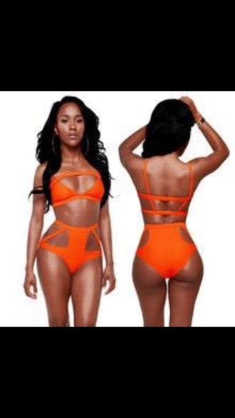 swimwear orange swimwear style rihanna swimsuit