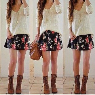 skirt floral skirt sweater knitted sweater top v-neck
