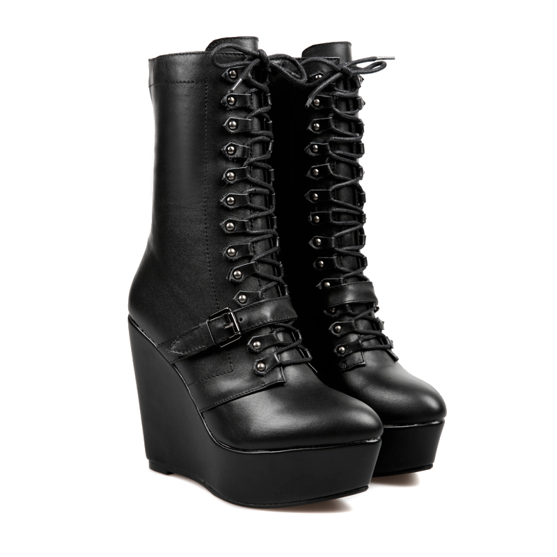 Buckled lace up wedge combat boots