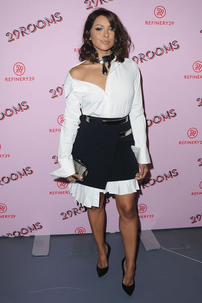 shirt skirt kat graham black and white pumps shirt dress