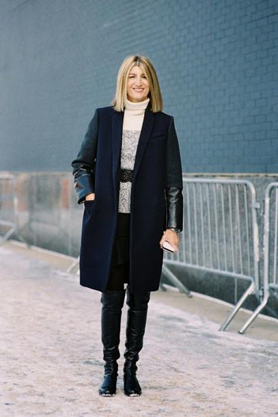 vanessa jackman blogger sweater winter coat medium-size belt