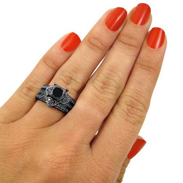Jewels Ring Set Evolees.com Princess Cut Black Diamond Ring Set 1.57 CT  PRINCESS CUT