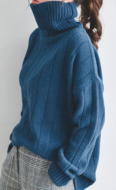 Sweater: blue, turtleneck, baggy sweaters - Wheretoget