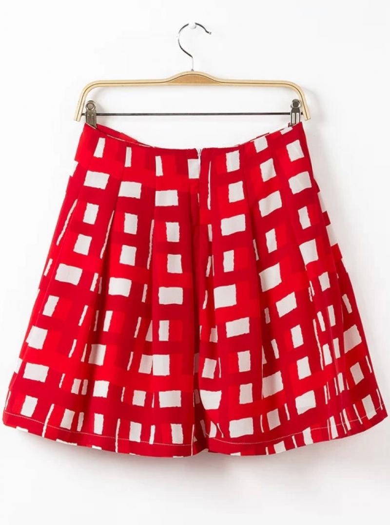 Red Plaid A Line Skirt