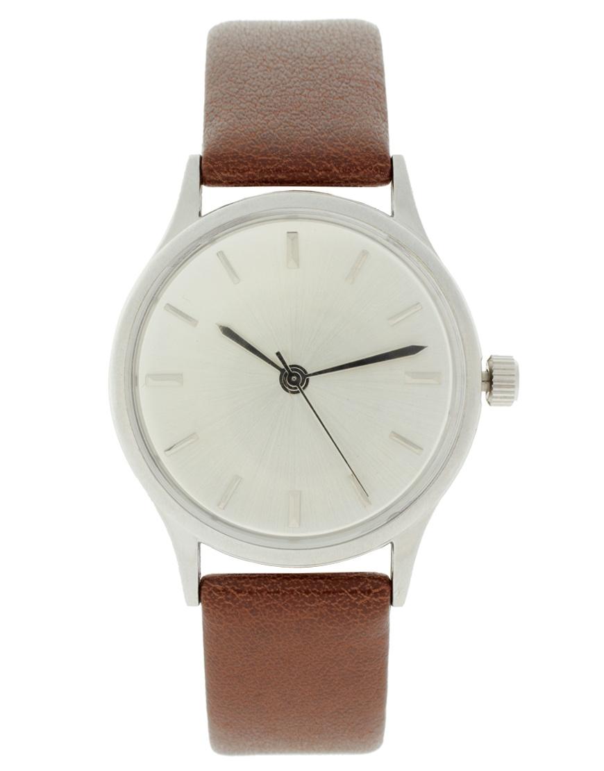 ASOS Brushed Silver Grandad Watch at asos.com
