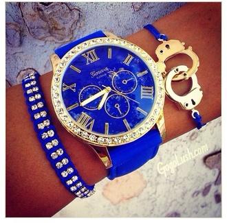 jewels royal blue bracelets blue gold watch handcuffs