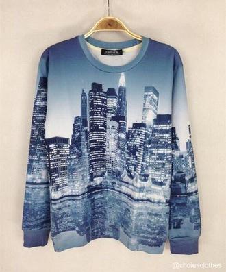 crewneck city sky landscape blue sweater sweater hipster