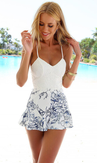 jumpsuit cute fashion pretty white blue dress