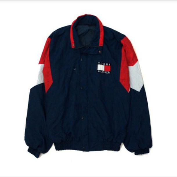 jacket tommy hilfiger jacket red blue coat retro coat swag jacket