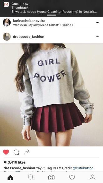 back to school aesthetic burgundy skirt sweater instagram grey sweater sweatshirt
