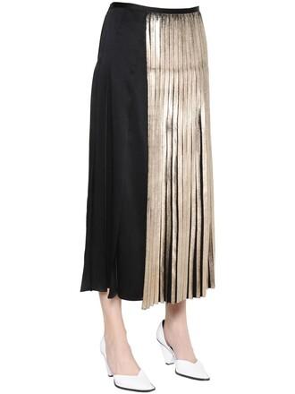 skirt pleated satin gold black