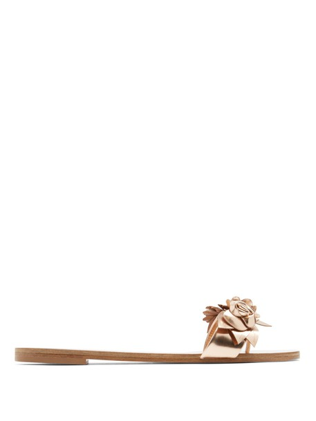 embellished floral leather rose gold rose gold shoes