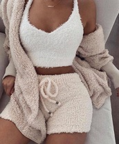 shorts,top,jacket,shirt,white top,cropped,fluffy,beige shorts,draw strings,pajamas,set,cami,microfiber,stuffed animal,white,cozy,cardigan,fuzy,sweater,matching set,cute,crop tops,tan,nude,pants,facebook ad,blouse,soft,winter outfits,fur,wool,white fur,white fur jacket,pajamas shorts and shirt,fur cardigan,tumblr outfit,snobbqueen,cream