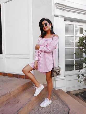shoes sneakers adidas dress stan smith off the shoulder crossbody bag gucci blogger blogger style