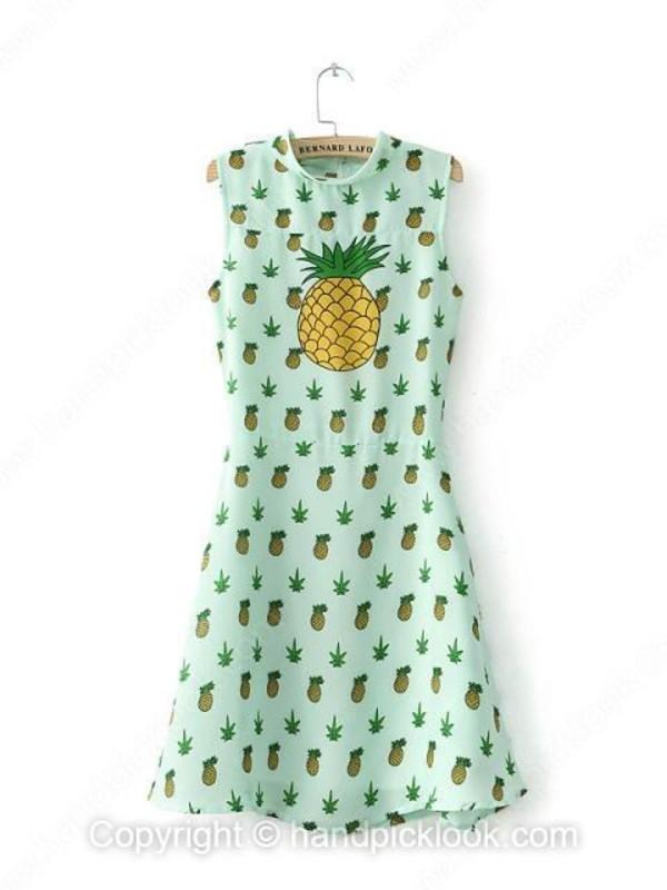 pinapple dress chiffon dress sleeveless dress short dress summer dress pineapple print