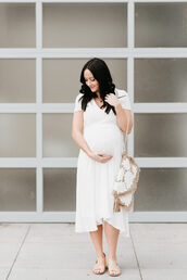 outfits&outings,blogger,dress,bag,shoes,white dress,sandals,spring outfits,clutch,maternity dress,maternity