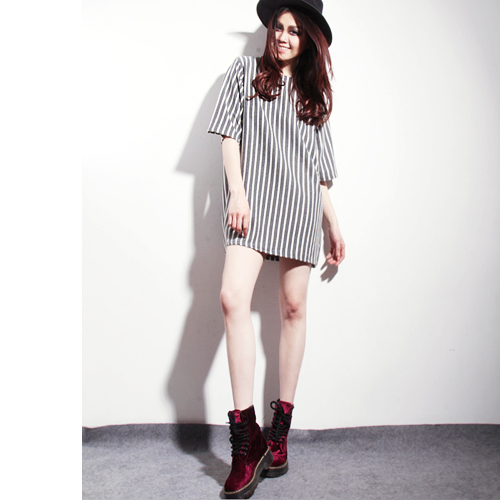 Aliexpress.com : buy bf c33 unisex wind loose vertical stripe navy casual fashion long t shirt from reliable t