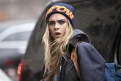 hat,beanie,fashion,stylish,cara delevingne,jacket,backpack,model,streetstyle
