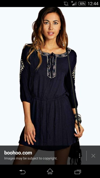 dress blue dress boho dress embroidered dress