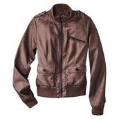 coat,jacket,xhilaration,brown,bomber jacket,faux leather
