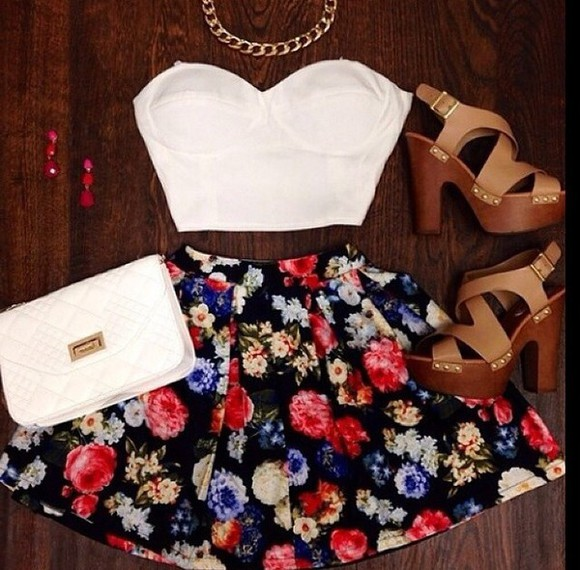 skirt floral skirt summer outfits fashion summer dress top