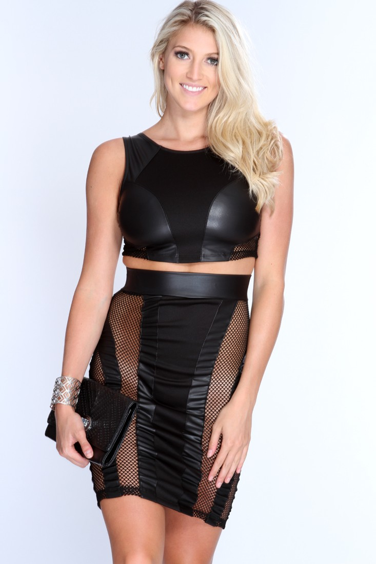 Black Netted Crop Top Pencil Skirt Sexy Outfit