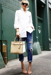 shoes,caged sandals,sandals,sandal heels,high heel sandals,nude sandals,denim,jeans,blue jeans,bag,nude bag,ripped jeans,cuffed jeans,shirt,white shirt,sunglasses,atlantic pacific,black sunglasses,spring outfits,office outfits