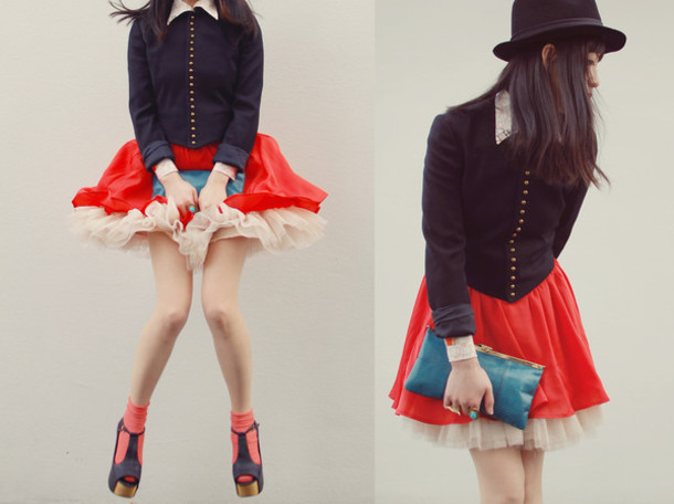 skirt red red skirt fluffy cute cute skirt ralph lauren ralph lauren jacket ruffle skirt