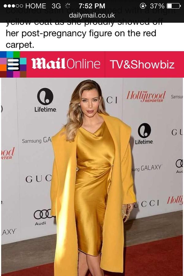 dress kim kardashian red carpet satin dress gold