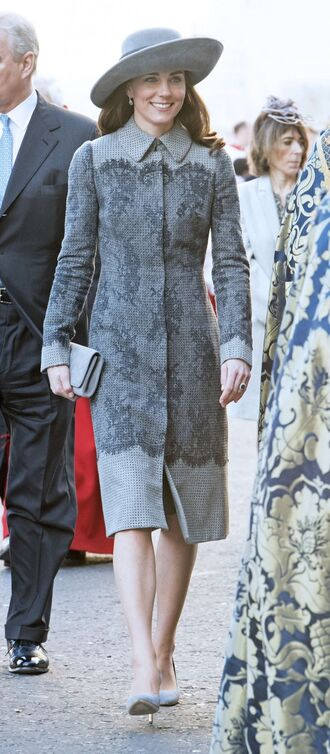 dress hat pumps kate middleton grey clutch shoes coat grey coat