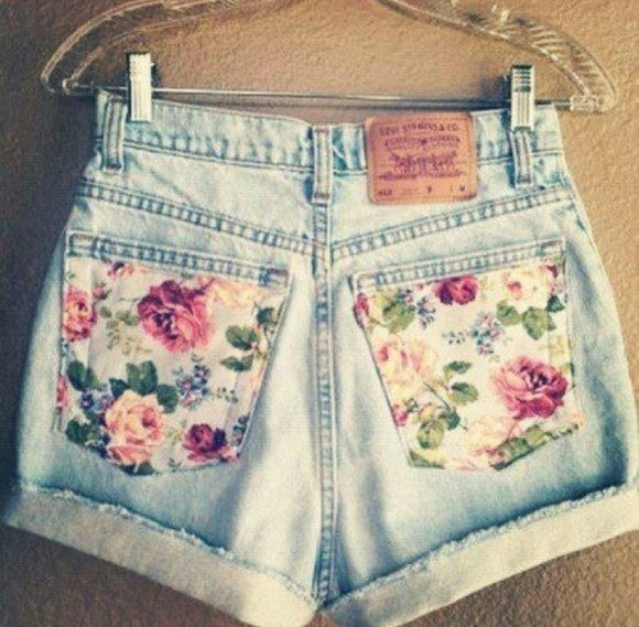 shorts flowered shorts blue jean shorts cute