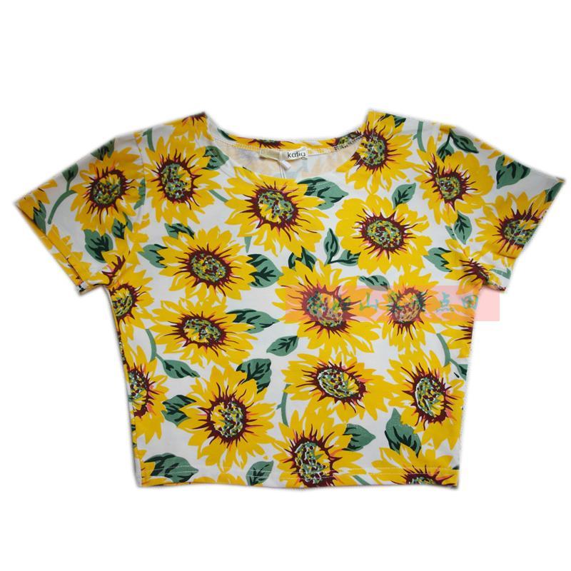 d42f7c27fce06 Free shipping new 2014 summer Sexy Close Fitting Crop top American apparel  aa Slim Short sleeve Print Flower T shirt women-inT-Shirts from Women's ...
