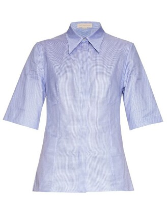 shirt back cut-out cotton light blue light blue top