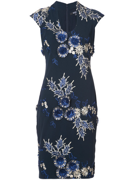 Badgley Mischka dress women spandex floral blue