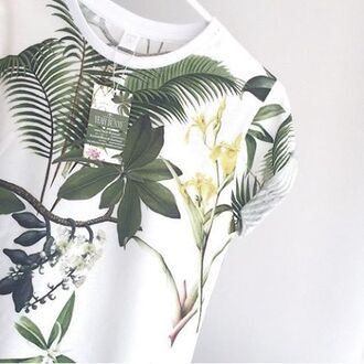 t-shirt yeah bunny cute tropical jungle palms print awsome cotton white green floral aweosome palm tree print printed t-shirt