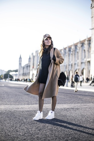 coat hat tumblr camel camel coat sweater black sweater turtleneck turtleneck sweater sneakers white sneakers cap bag black bag tights net tights fishnet tights beige baseball hat