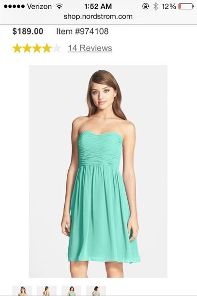 dress teal dress strapless dress