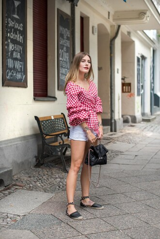 shoes gingham red top tumblr espadrilles shorts white shorts top summer outfits
