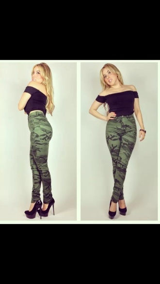 jeans camouflage army print high waist camoflauge pants army pants