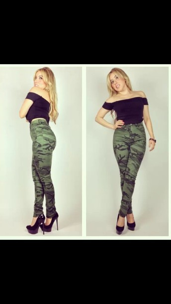 jeans camouflage army print high waisted camo pants army pants