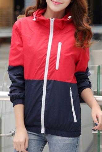 jacket red blue windbreaker zip