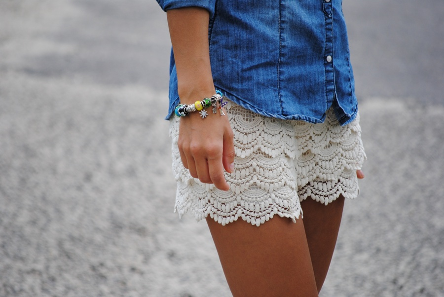 Vintage High Waist Lace Shorts - OASAP.com