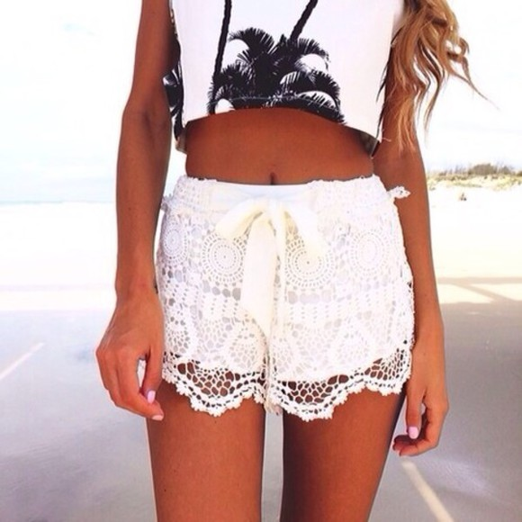 shorts white lace shirt blouse palm tree print pants pants, summer tumblr shorts white summer outfits lace pattern tan detail