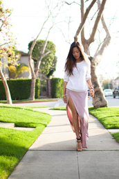 skirt,clothes,maxi skirt,pink,slit,sweater,shoes