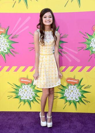 ciara bravo yellow dress sundress flower dress white shoes white heels high heels white pumps daisy daisy dress