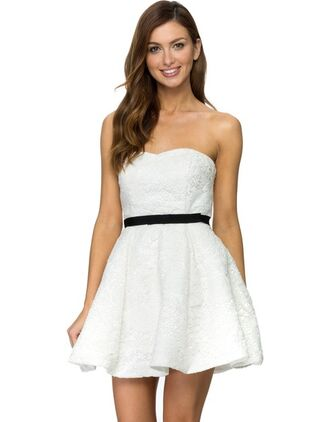 dress white dress black and white dress black belt stapless above knee dress flowy dress lacey lacey dress trendy black white lace dress lace lace up bustier bustier dress strapless short short dress skater skater dress belt prom dress prom graduation dress formal formal dress pretty tumblr tumblr outfit tumblr girl tumblr clothes black and white classy clothes style fashion swag yolo summer outfits summer dress beach girl cool girly sexy sexy dress alternative indie fall outfits hipster cute