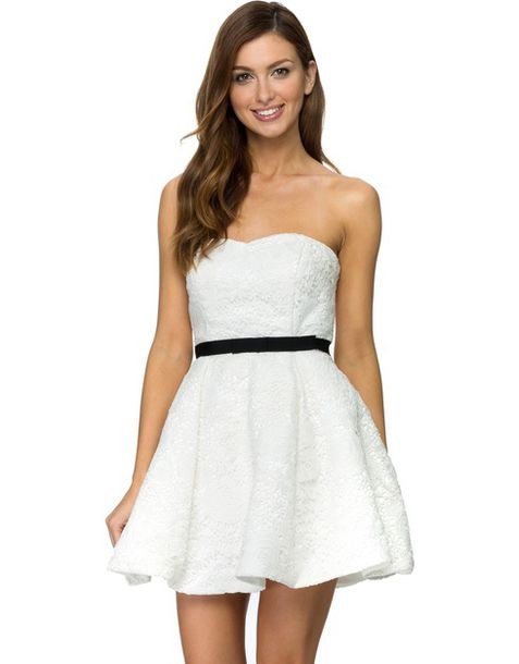 white strapless dress with black lace