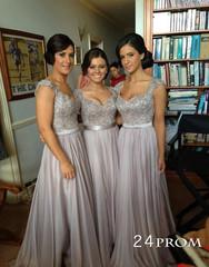 Line gray chiffon long prom dresses, bridesmaid dresses