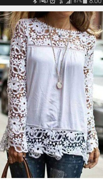 blouse white spliced hollow out floral