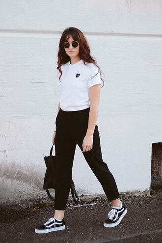 shoes white t-shirt black trousers black backpack black sneakers vans blogger